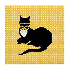 Miss Molly Yellow Dot Tile Coaster