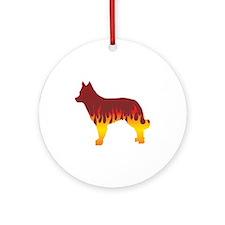 Mudi Flames Ornament (Round)