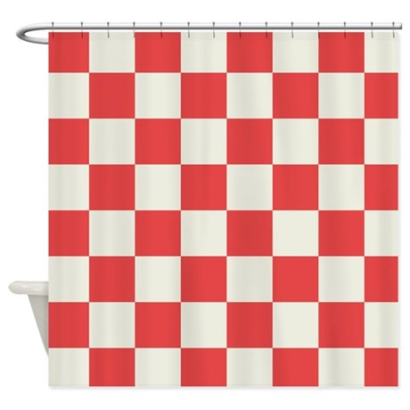 Red And White Checkered Shower Curtain By Crazyshowercurtains