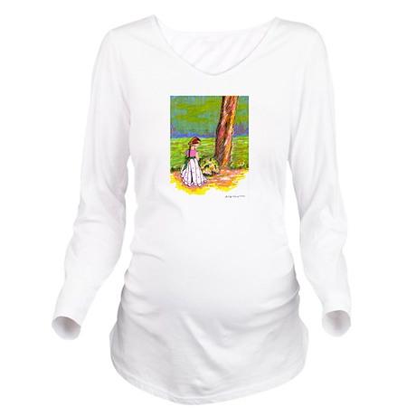 Flowers Long Sleeve Maternity T-Shirt