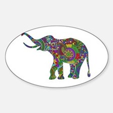 Cute Retro Colorful Floral Elephant Decal