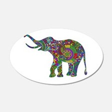Cute Retro Colorful Floral Elephant Wall Decal