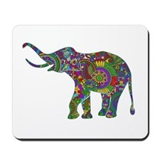 Cute Retro Colorful Floral Elephant Mousepad