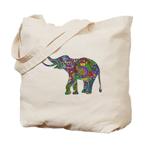 Cute Retro Colorful Floral Elephant Tote Bag By Artonwear