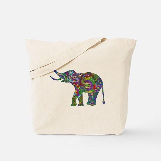 Cute Retro Colorful Floral Elephant Tote Bag