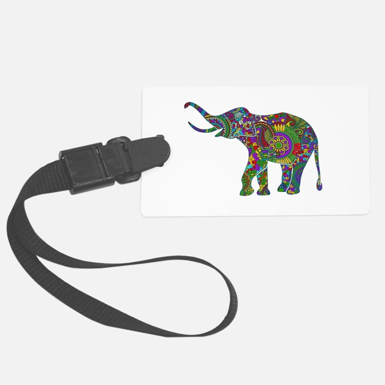 Cute Retro Colorful Floral Elephant Luggage Tag