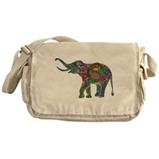 Cute Retro Colorful Floral Elephant Messenger Bag