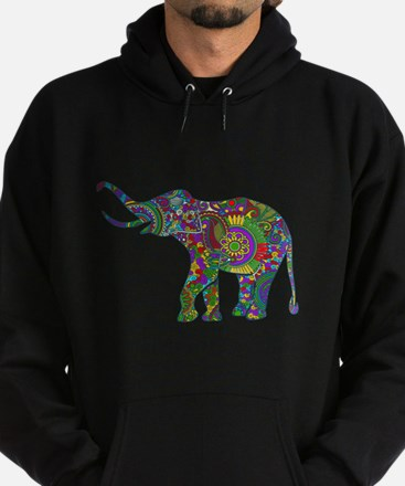 Cute Retro Colorful Floral Elephant Hoodie