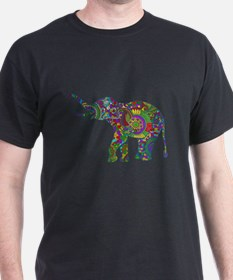 Cute Retro Colorful Floral Elephant T-Shirt