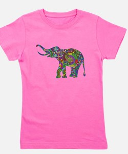 Cute Retro Colorful Floral Elephant Girl's Tee