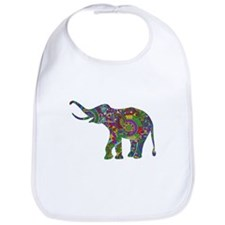Cute Retro Colorful Floral Elephant Bib