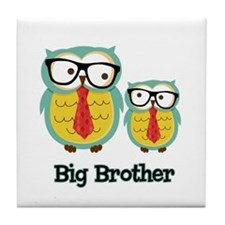 Nerdy Owl Big Brother Tile Coaster