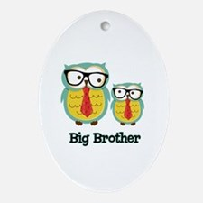 Nerdy Owl Big Brother Ornament (Oval)
