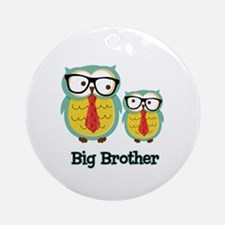Nerdy Owl Big Brother Ornament (Round)