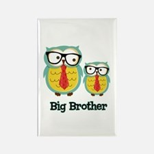Nerdy Owl Big Brother Rectangle Magnet