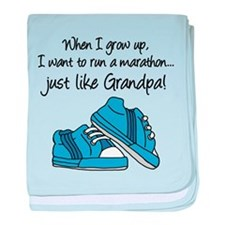 Run Marathon Just Like Grandpa baby blanket