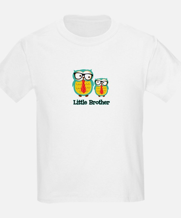 Nerdy Owl Little Brother T-Shirt