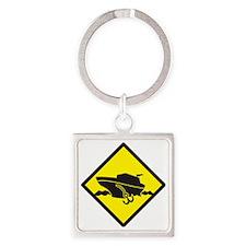 Warning yellow sign cruise  Square Keychain