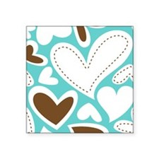 Hearts Aqua and Chocolate Large Sticker