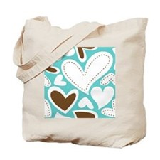 Hearts Aqua and Chocolate Large Tote Bag
