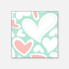 Hearts Pink and Aqua Large Sticker