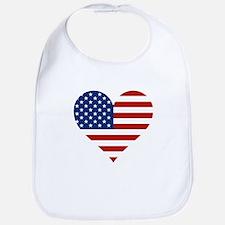 US Flag Heart Bib