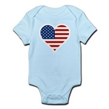 US Flag Heart Body Suit