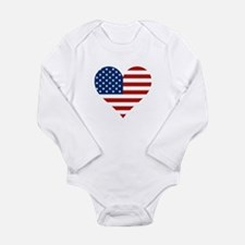 US Flag Heart Body Suit