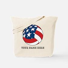 Custom American Flag Volleyball Tote Bag
