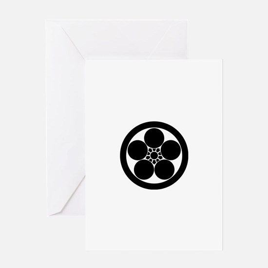 Umebachi-style plum blossom in circl Greeting Card