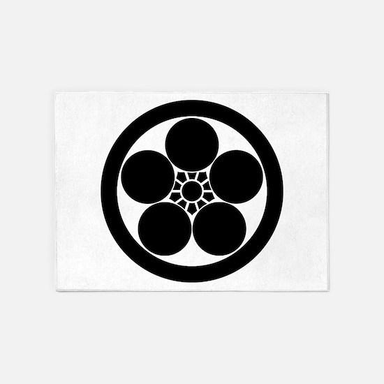 Umebachi-style plum blossom in circ 5'x7'Area Rug