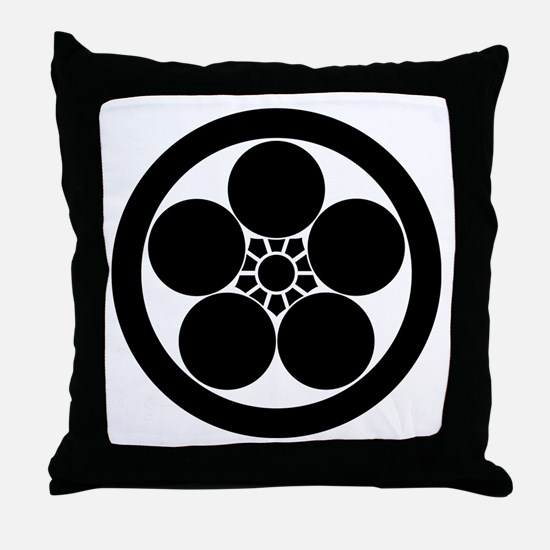 Umebachi-style plum blossom in circle Throw Pillow