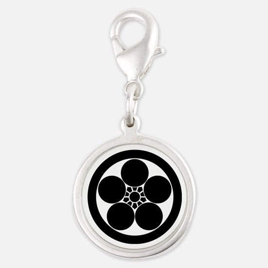 Umebachi-style plum blossom in Silver Round Charm