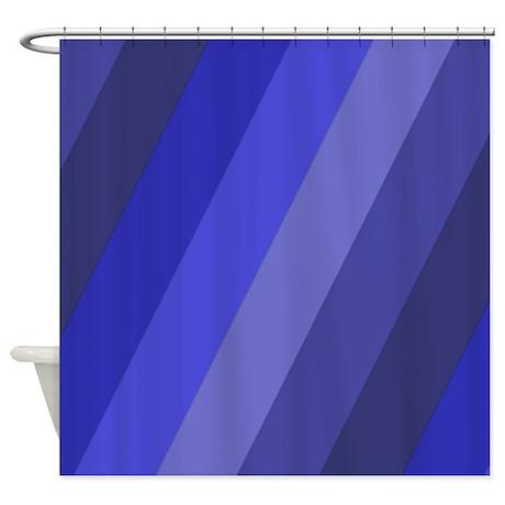 Dark Blue Stripes Shower Curtain By CrazyShowerCurtains