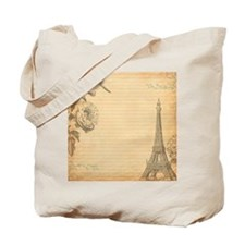 Paris Vintage Orange Tote Bag