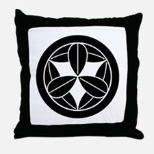 Nine bamboo leaves in circle Throw Pillow
