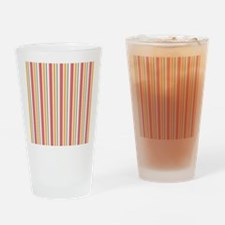 Pink & Orange Candy Stripes Drinking Glass