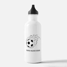 Custom Flaming Soccer Ball Water Bottle