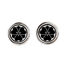 Wood sorrel with swords in circle Cufflinks