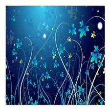 """Nightly Floral Square Car Magnet 3"""" x 3"""""""