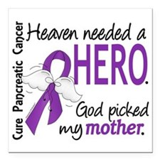 "Pancreatic Cancer Heaven Square Car Magnet 3"" x 3"""