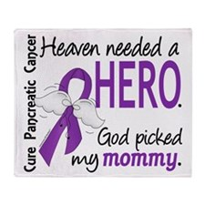 Pancreatic Cancer Heaven Needed Hero Throw Blanket