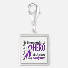 Pancreatic Cancer Heaven Need Silver Square Charm