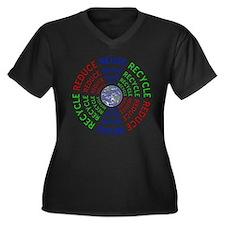Reduce Reuse Women's Plus Size V-Neck Dark T-Shirt