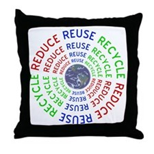Reduce Reuse Recycle with Earth Throw Pillow