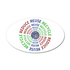 Reduce Reuse Recycle with Ea 20x12 Oval Wall Decal