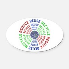 Reduce Reuse Recycle with Earth Oval Car Magnet
