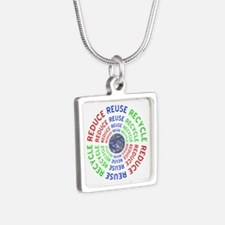 Reduce Reuse Recycle with Silver Square Necklace