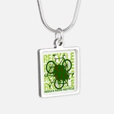 Environmental reCYCLE Silver Square Necklace