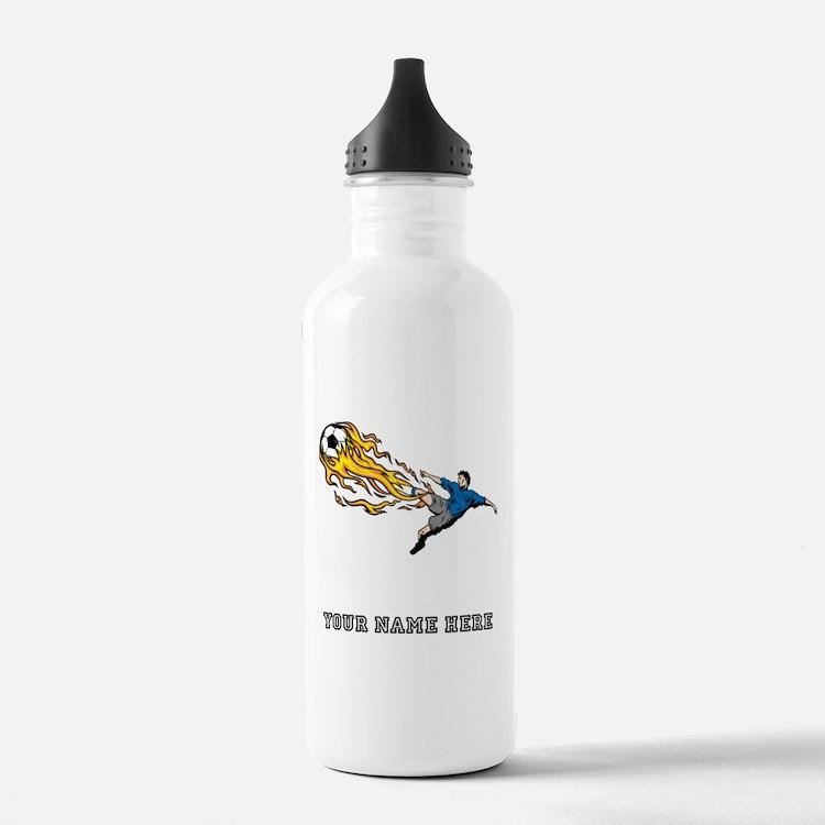 Custom Flaming Soccer Kick Water Bottle